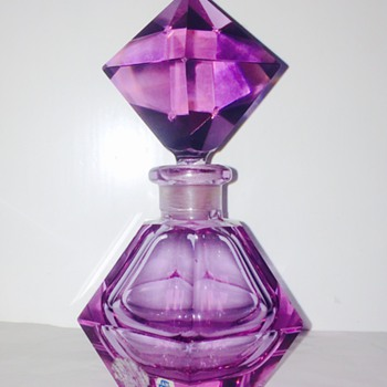 Vintage Czech? Murano? Alexandrite Neodymium Hand Cut Perfume Bottle - Art Glass