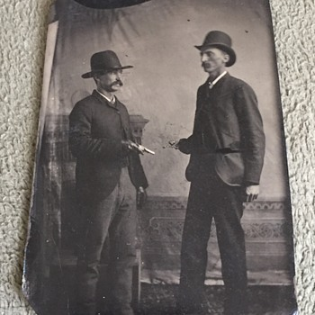 Antique Tintype Men With Pistols Outlaws?? - Photographs
