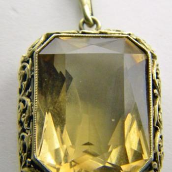 Vintage Deco Citrine Cushion Cut Filigree 835 Silver Gold Gilt Pendant Germany - Fine Jewelry