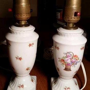 Czech Victoria Porcelain Roses Dresser Lamps - Lamps