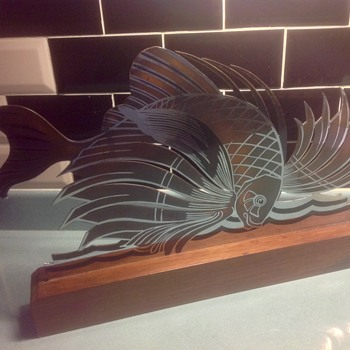 "Art Deco  Dinanderie metal fish by ""Rivierre"""