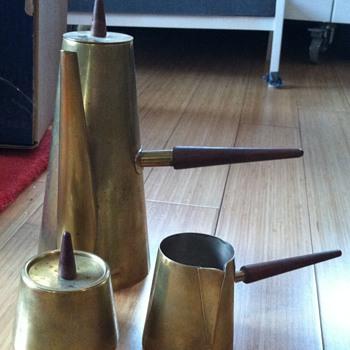 Italian Mid-Century Brass and Silver Coffee Service - Gio Ponti? - Mid-Century Modern