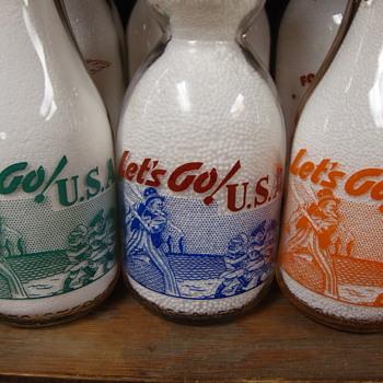 LET'S GO! U.S.A. WAR SLOGAN MILK BOTTLE DESIGN....ANOTHER OF MY FAVORITES - Bottles