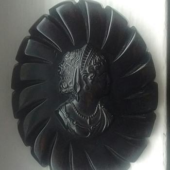 Black Cameo Brooch - Costume Jewelry