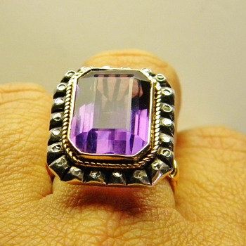 Vintage Antique Amethyst Rose Diamond Silver 18k 750 Ring French? - Fine Jewelry