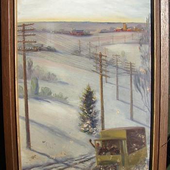 OLD WISCONSIN FARM HILLS AMATEUR OIL PAINTING - Fine Art
