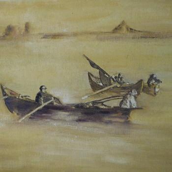 Man and his Dog in a Boat.  Painting. Maybe 1930s? - Fine Art