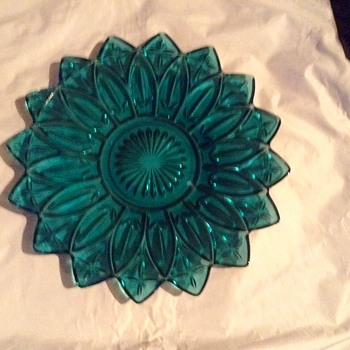 "Federal Glass Teal blue Flower Petal 11 1/2"" Serving Platter"