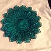 "Federal Glass Teal blue Flower Petal 11 1/2"" Serving Platter"