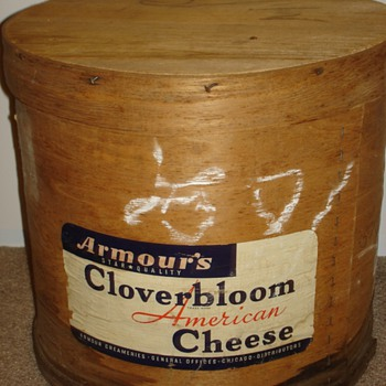 Antique Wooden Cheese Box - Advertising