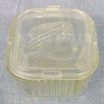 Vintage Federal Glass Refrigerator Dish ~ Embossed Vegetable Design on Lid - Glassware