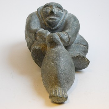 "Inuit Stone Carving""Man Pulling a Seal""Age Unknown  - Fine Art"