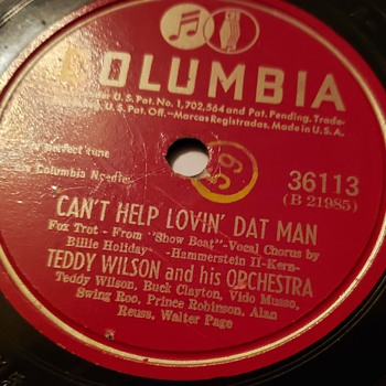 Teddy Wilson (Feat. Billie Holiday)-Can't Help Lovin' Dat Man/My Man (#36113) (78rpm) E- - Records