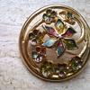 Enamel/Gold Tone Floral Brooch