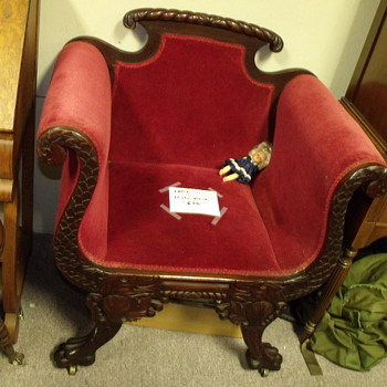 1800'S CARVED WOOD EXQUISITE CHAIR CARVED DRAGONS RED MOHAIR  - Furniture