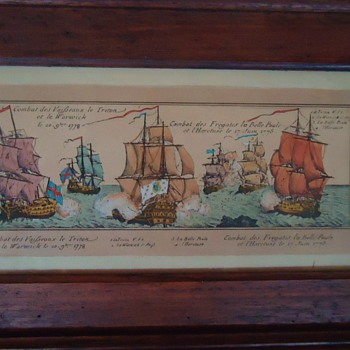 French School Late 18th century painted Lithograph, and photo of print sold in England with poor color