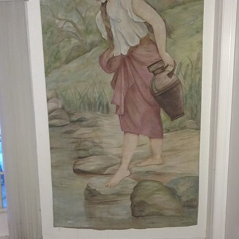 1905 Rebecca at the well watercolor on tent canvas 8x3 ft signed clay or clark - Fine Art