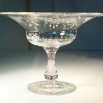 Pairpoint Veneti Comport Latticino Dew Drop Cut Crystal - Art Glass