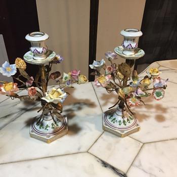 "CAPODIMONTE 2ea FLORAL PORCELAIN CANDELABRAS 10"" - Lamps"