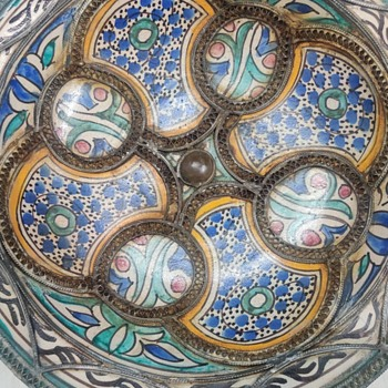 Moroccan nickel silver ceramic hand painted bowl. - Pottery