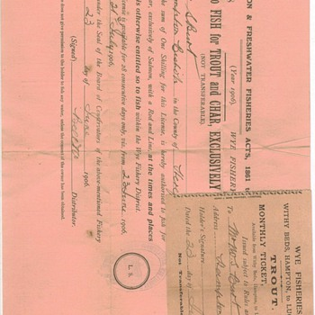 Old Great Britain Fishing License