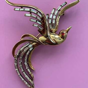 Trifari Rhinestone Bird of Pardise Brooch - Costume Jewelry