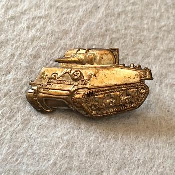 Sherman Tank Brass Lapel Pin - Military and Wartime