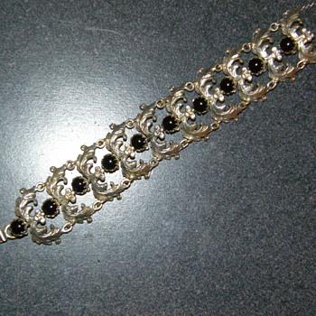 Antique Sterling Silver Black Onyx Art Deco Bracelet