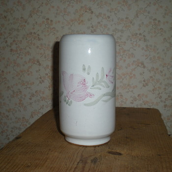 Bulgarian ceramic vase with red roses 1950s. - Pottery