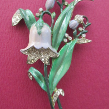 Trifari Enamel Flower Brooch - Costume Jewelry