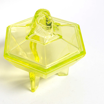 Art Deco Vaseline Glass Covered Dish with Face Knob - Glassware