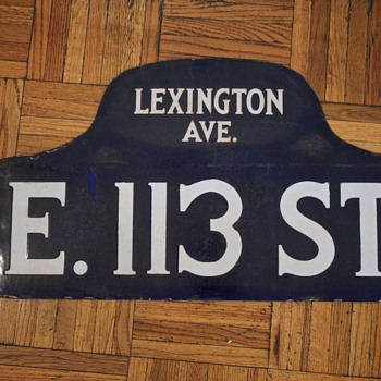 1910s-1920s New York City Street Sign - East 113th St. - Signs