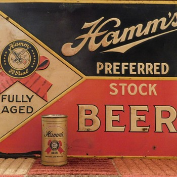 Vintage Hamm's Embossed Tin - Original and Reproduction - Advertising