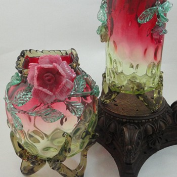 Harrach Rubina Verde Thumbprint Art Glass Vases with Applied Roses - Art Glass