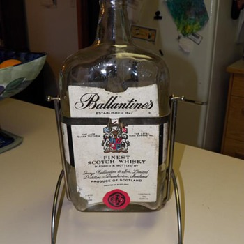 Ballantine's Finest Scotch Whisky with holder.  133 1/2 ounces. Establised 1827 - Bottles
