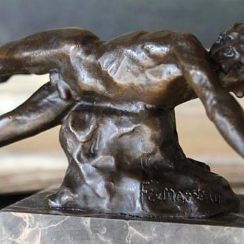 """Falling  Male Nude Bronze by Pierre Felix """"Fix"""" Masseau, 1920's"""