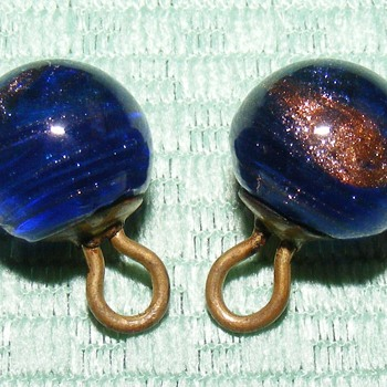 "Pair of Glass Ball Waistcoat Buttons - 7/16"" - Sewing"