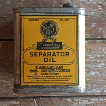 Canadian Oil Companies Limited Quarter Gallon Separator Oil, Enarco