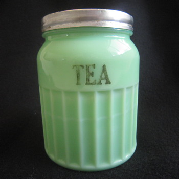 1930's Depression Era Ribbed Green McKee MCK  Jadite Milk Glass Tea Storage Jar - Glassware