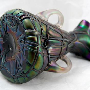 ANTIQUE Handblown Bohemian Art Glass Vase ca 1900 Pallmé-König  - Art Glass