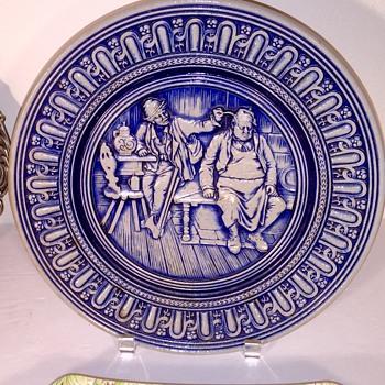 Simon Peter Gerz salt glazed stoneware wall plate