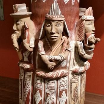 Peruvian Terra Cotta Clay Vase - Folk Art