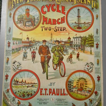"Sheet Music ~ ""NY & Coney Island Cycle March""~E.T. Paull~Fantastic Graphics!"