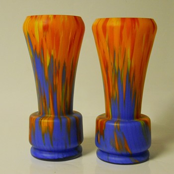 Bohemian Art Deco, Matte Coloureds Spatter Glass Vases, Circa 1920-30 - Art Glass