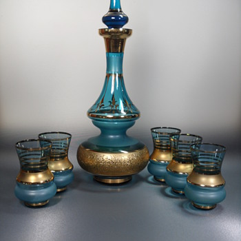 Bohemian Blue Glass Decanter Set ~ 7 pcs - Art Glass