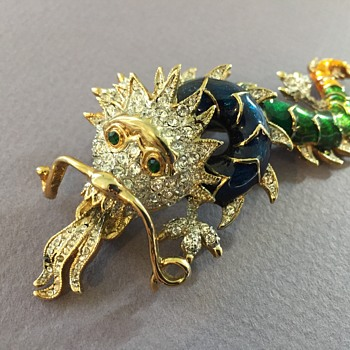 Barely Vintage Dragon Rhinestone Brooch ( A copy of Butler & Wilsdon) - Costume Jewelry