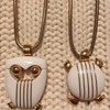 Trifari Owl and Turtle Wire-Wrapped Lucite Necklaces