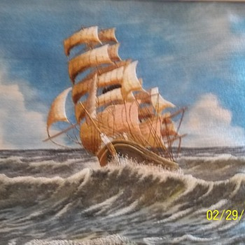 Embroidered Clipper Ship.  beautifully done!