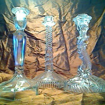 Clear glass candlesticks - Art Glass