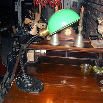 Eagle Gooseneck Desk Lamp with Green Shade 1930s. - Lamps